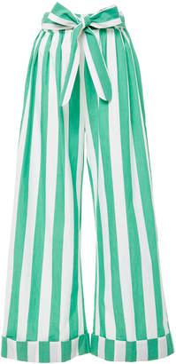 Mara Hoffman Sasha Tied Striped Cotton-Voile Wide-Leg Pants