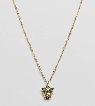 Orelia gold plated leopard pendant necklace