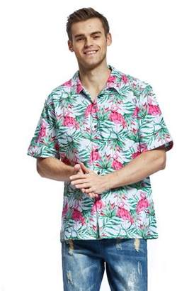 Hawaii Hangover Men's Hawaiian Shirt Aloha Shirt Christmas Shirt Flamingo in Love White
