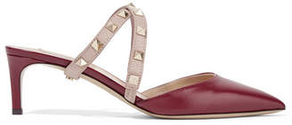 Valentino Garavani The Rockstud Leather Mules - Burgundy