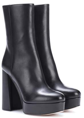 Miu Miu Leather plateau ankle boots