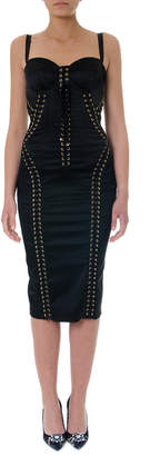 Dolce & Gabbana Black Stretch Long Dress With Laces