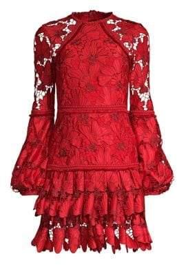 Alexis Women's Fransisca Lace Mini Dress - Scarlet Lace - Size XS