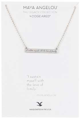 Dogeared Sterling Silver Maya Angelou I Sustain Myself Bar Necklace