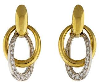 Pomellato 18K Diamond Oval Drop Earrings