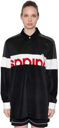 Velour & Cotton Maxi Polo T-Shirt