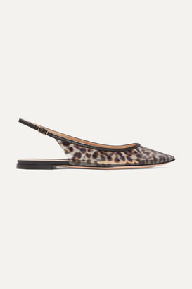 Gianvito Rossi Patent Leather-trimmed Leopard-print Pvc Slingback Point-toe Flats - Leopard print