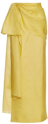 Rosie Assoulin Hustle And Bustle Floral Jacquard Silk Blend Skirt - Womens - Yellow