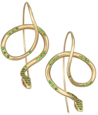 Annette Ferdinandsen Fauna 18K Yellow Gold, Tsavorite Garnet & Ruby Serpent Earrings