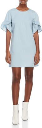 BCBGeneration Chambray Ruffle Sleeve Dress