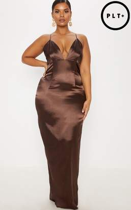 PrettyLittleThing Plus Chocolate Brown Satin Strappy Maxi Dress
