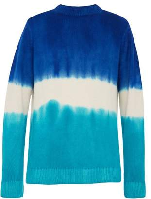 The Elder Statesman Tie Dyed Crew Neck Cashmere Sweater - Mens - Blue Multi