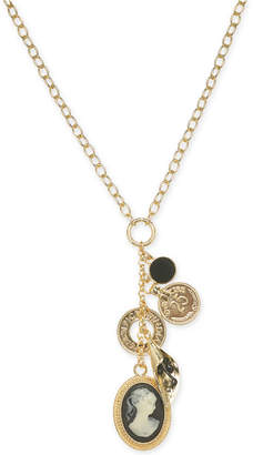 """INC International Concepts I.N.C. Gold-Tone Cameo Multi-Charm Pendant Necklace, 18"""" + 3"""" extender, Created for Macy's"""
