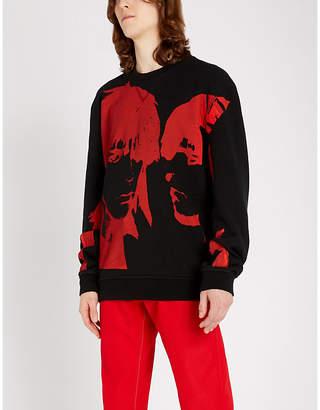 Graphic-intarsia cotton-knit jumper
