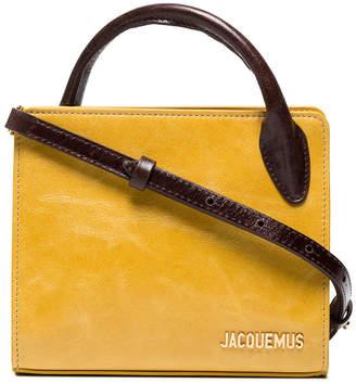 Jacquemus Yellow le sac bahia Mini leather tote bag