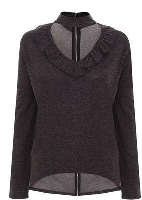 Quiz Dark Grey Light Knit Choker Detail Top