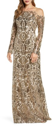 Tadashi Shoji Embellished Illusion Long Sleeve Evening Gown