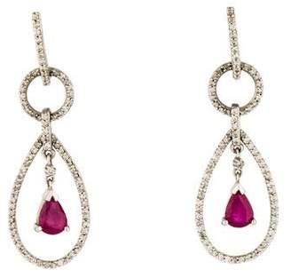 14K Ruby & Diamond Teardrop Earrings