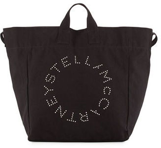 Stella McCartney Logo Print Canvas Beach Tote Bag $225 thestylecure.com