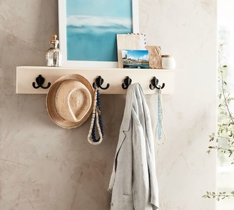Pottery Barn Wade Entryway Shelf with Row of Hooks - White