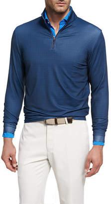 Peter Millar Crown Sport Perth Glen Plaid Quarter-Zip Pullover, Dark Blue $115 thestylecure.com