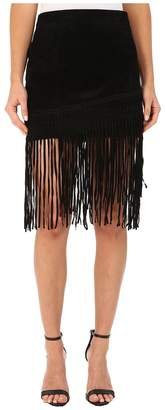 Blank NYC Black Suede Fringe Skirt in Seal The Deal Women's Skirt