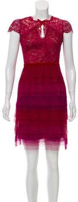 Marchesa Lace Mini Dress