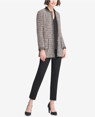 DKNY Tweed Long Open-Front Jacket