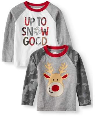Toddler Boys' Christmas Long Sleeve T-Shirts, 2-Pack