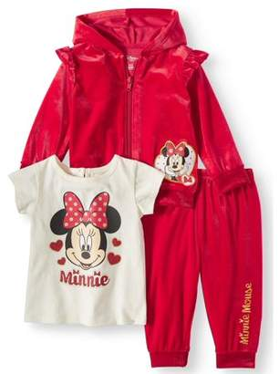 Minnie Mouse Velour Ruffle Sleeve Zip Hoodie, T-shirt, & Jogger Pants, 3-Piece Outfit Set (Baby Girls)