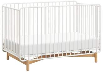 Babyletto Bixby 3-in-1 Convertible Metal Crib with Toddler Bed Conversion Kit - Warm White/Natural Beech