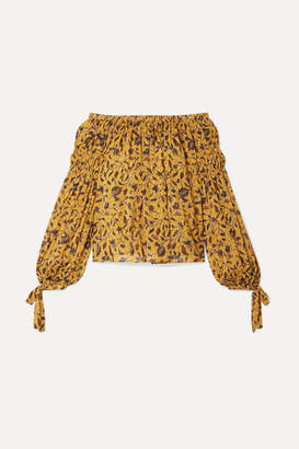 Ulla Johnson Farai Off-the-shoulder Floral-print Silk, Cotton And Lurex-blend Blouse - Yellow