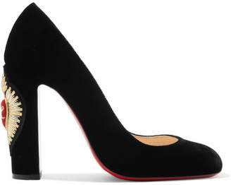 Christian Louboutin Cadrilla Corazon 100 Appliquéd Velvet Pumps - Black