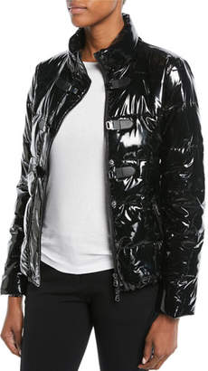 Emporio Armani Shiny Quilted Puffer Jacket w/ Hook Closure