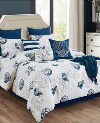 Hallmart Collectibles Deandra 10-Pc. Seashell-Print Queen Comforter Set Bedding