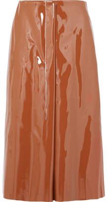Marni Faux Patent-leather Midi Skirt - Tan