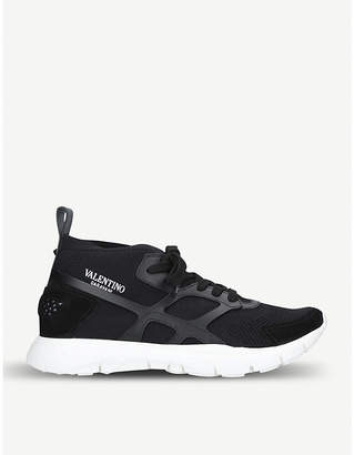 7ab1cb63849471 at Selfridges · Valentino Sound High stretch-knit and leather trainers