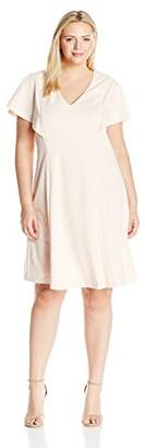 Calvin Klein Women's Plus Size Fit and Flare Dress with Bell Sleeves
