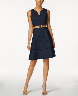 Nine West Belted Split-Neck Dress $79 thestylecure.com