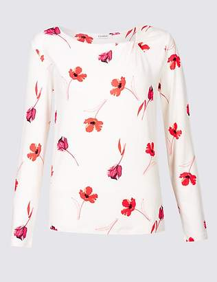 Classic Floral Print Twisted Neck Long Sleeve Top