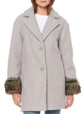 Ellen Tracy Faux Fur Cuffed Coat