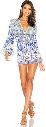 Camilla Wide Sleeve Tie Front Romper in Blue $500 thestylecure.com