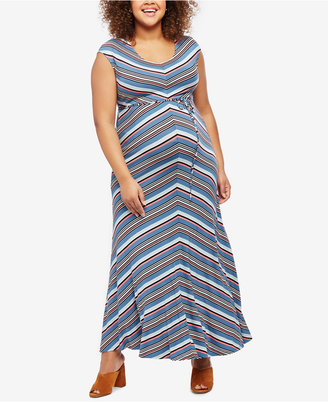 Jessica Simpson Maternity Plus Size Striped Maxi Dress $74.98 thestylecure.com