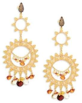 Azaara Goldtone & Garnet Chandelier Earrings