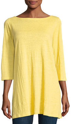 Eileen Fisher 3/4-Sleeve Organic Linen Tunic $138 thestylecure.com