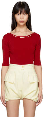 Carven Red Basic Knit Bodysuit