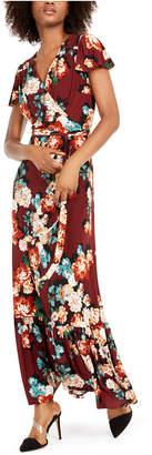 INC International Concepts Inc Floral-Print Faux-Wrap Maxi Dress