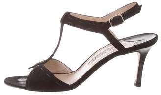 Manolo Blahnik T-Strap Suede Sandals
