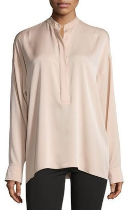 Helmut Lang Tie-Back Stretch Silk Top, Blush $370 thestylecure.com