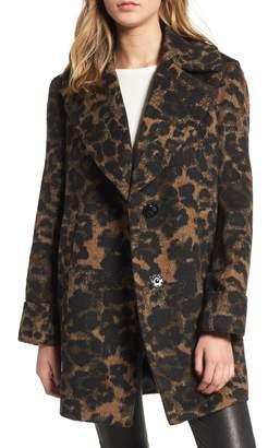 Kensie Leopard Print Wool Coat